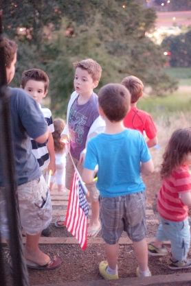 the kids discussing the best vantage point for watching the big fireworks over the Willamette River.