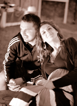 it's evening time and the fire pit was going stron… Melanie and Marius, new love!